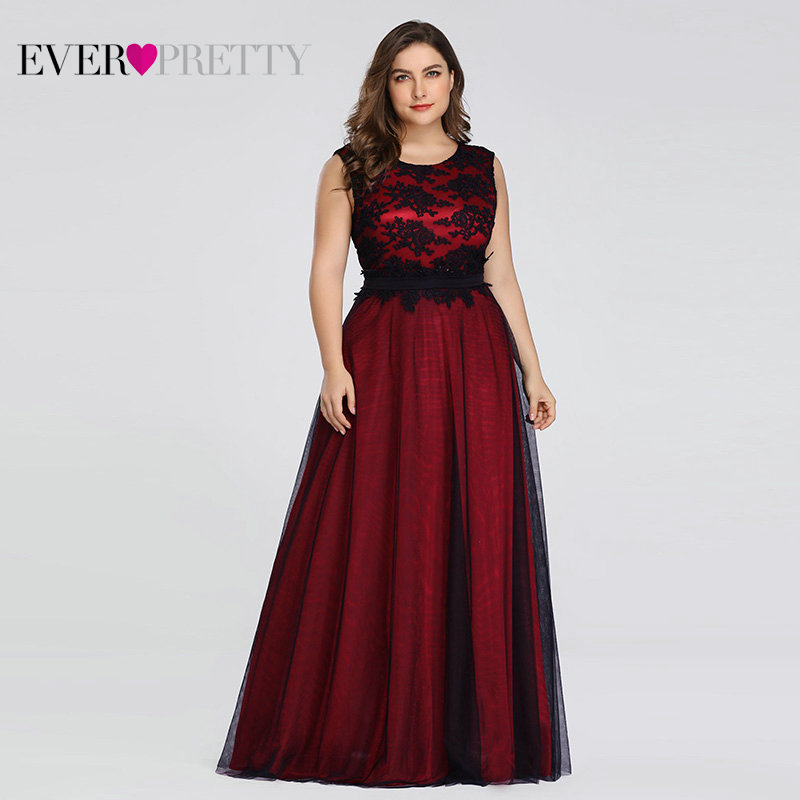 Plus Size Elegant Evening Dresses Ever Pretty Burgundy A-Line Lace Sleeveless Sexy Dress For Party EZ07545 Robe De Soiree 2020