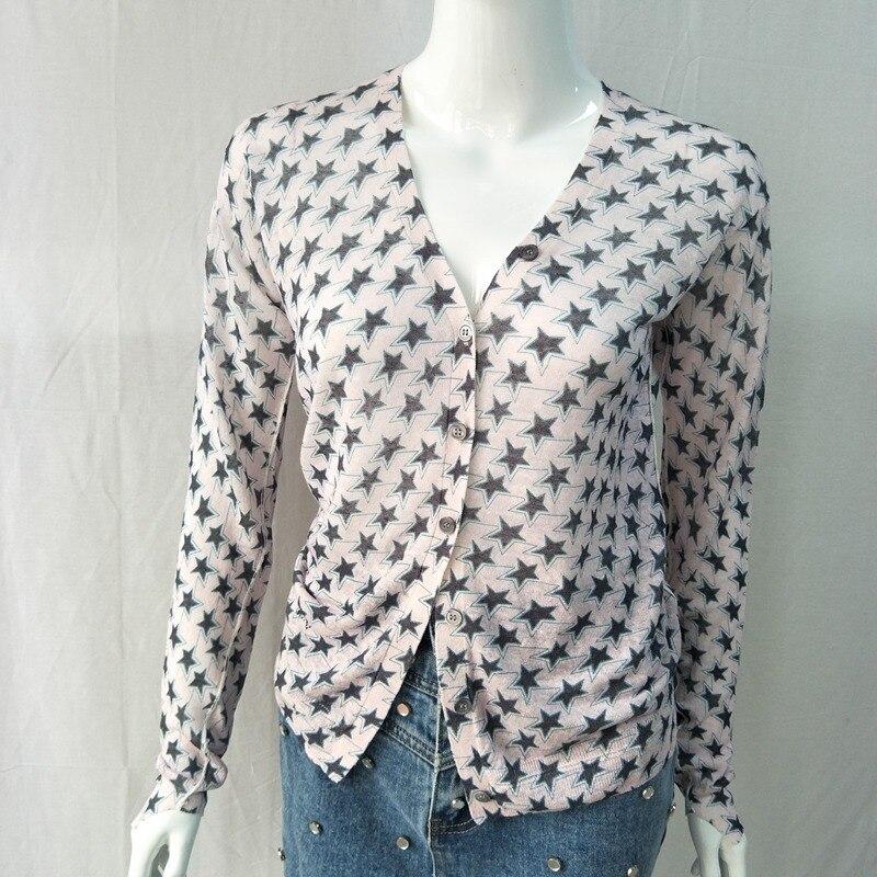 Women Sweater Star Print Linen And Gold Silk Blend Thin Sweater Top Women