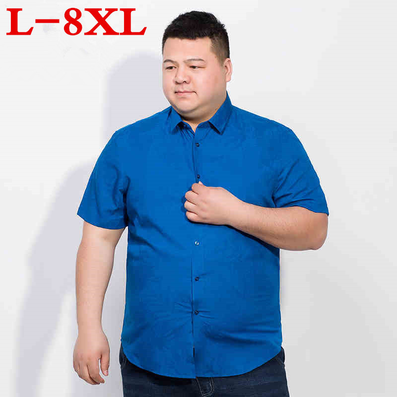 8XL 7XL Big Size Summer  Short Sleeve Oxford Fabric Loose Fit Breath Comfrotable Quality Fashion Business Mens Casual Shirts