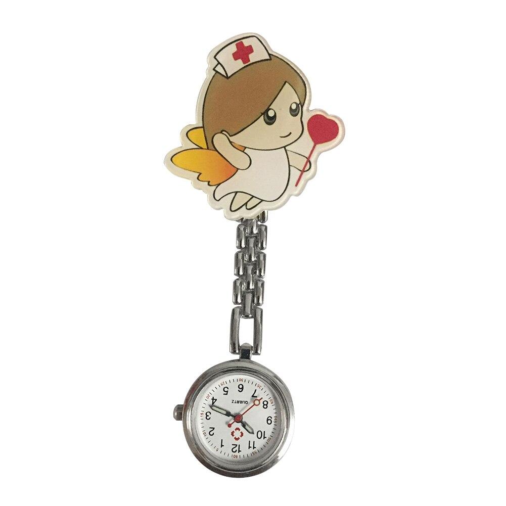 Women Quartz Cute Cartoon Portable Pin Buckle Clip Durable Fashion Nurse Watches Lapel Hanging Stethoscope Gift Round Dial