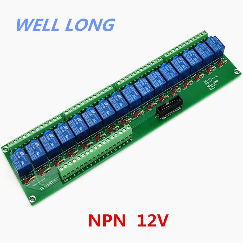 16 Channel NPN Type 12V 10A Power Relay Interface Module,SONGLE SRD 12VDC SL C Relay.