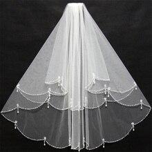 NUOXIFANG 2020 горячая распродажа элегантный короткие бисером края свадебное фата белый кот невесты фата два слоя Локоть длина