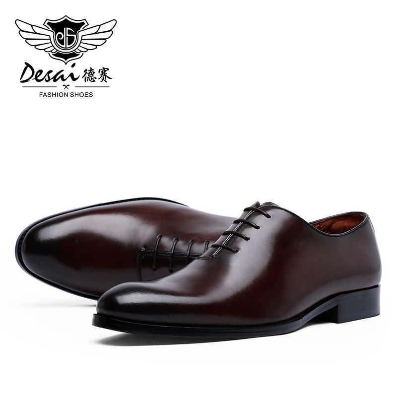Desai sapato masculino de couro estilo oxford, sapato formal de negócios, com cadarço, minimalista, para homens