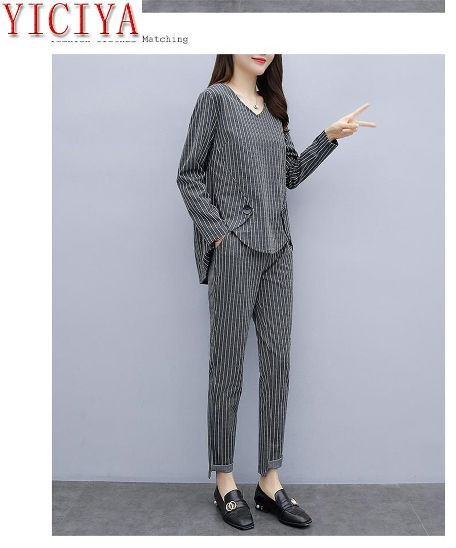 Hf1d71d2a3f7a43fcb4a96e0cd26b702bH - Striped 2 Piece Set Tracksuits Outfits for Women Plus Size Large Matching Co-ord Winter Clothes 2piece Cotton Linen high quality