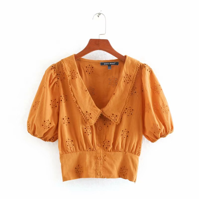 2020 New Women Hollow Out Embroidery Turn Down Collar Casual Smock Blouses Female Puff Sleeve Shirts Leisure Chemise Tops LS6544