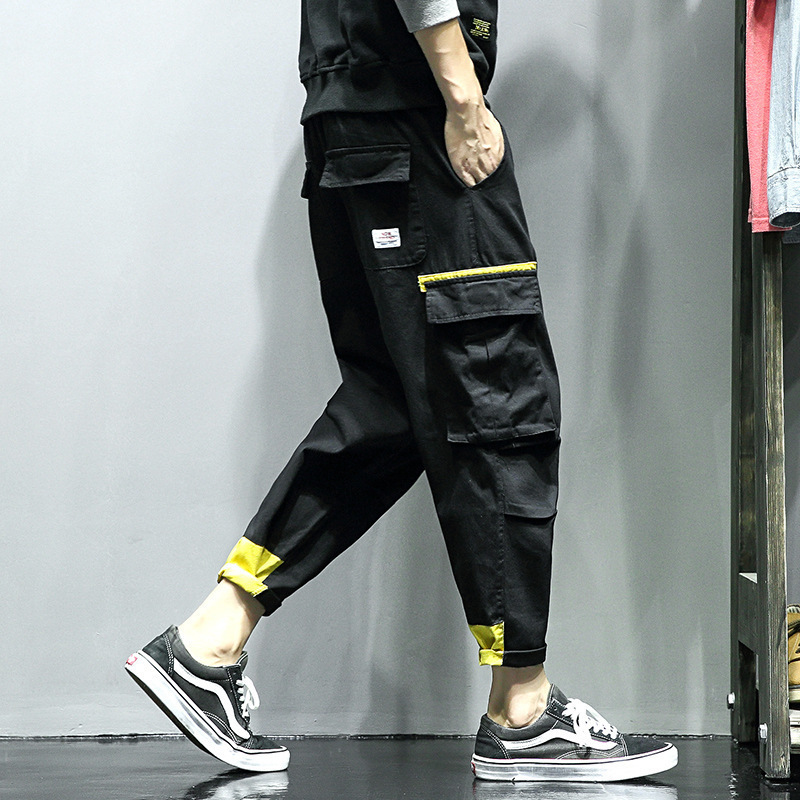 2019 Photo Shoot Korean-style Trend Capri Pants Loose-Fit Versatile Popular Brand Bib Overall Large Pocket Casual Pants MEN'S Tr