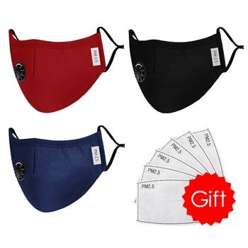 High Quality 3pcs Unisex Cotton Breath Valve Face Mouth Mask Cloth Activated Carbon Filter Respirator For Men Women 4 Colors 10