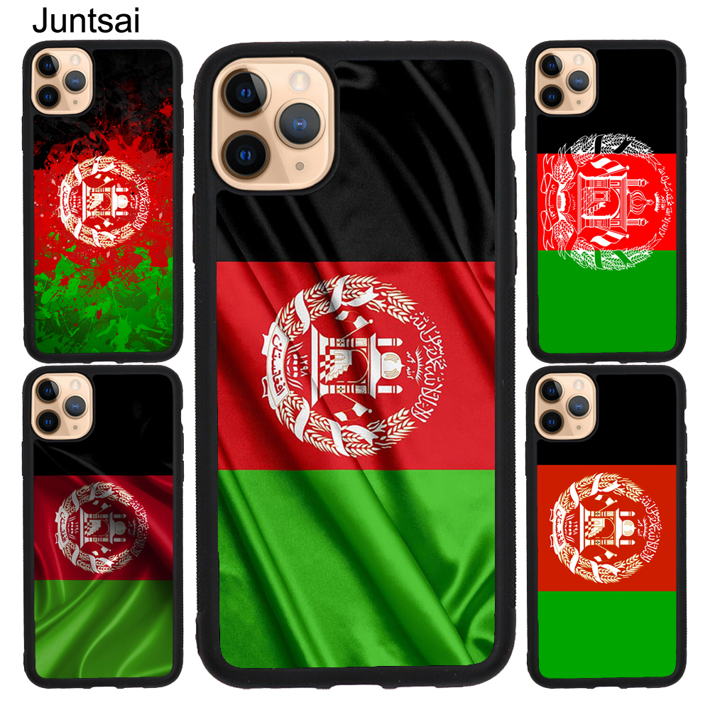 Juntsai Afghan <font><b>Afghanistan</b></font> Flag Case For iPhone X XR XS Max 5S SE 2020 6S 8 7 Plus 11 Pro Max Rubber Back Cover image