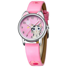 KDM Fashion Watch Girls Boys Cute Cats Pattern Watch Waterpr