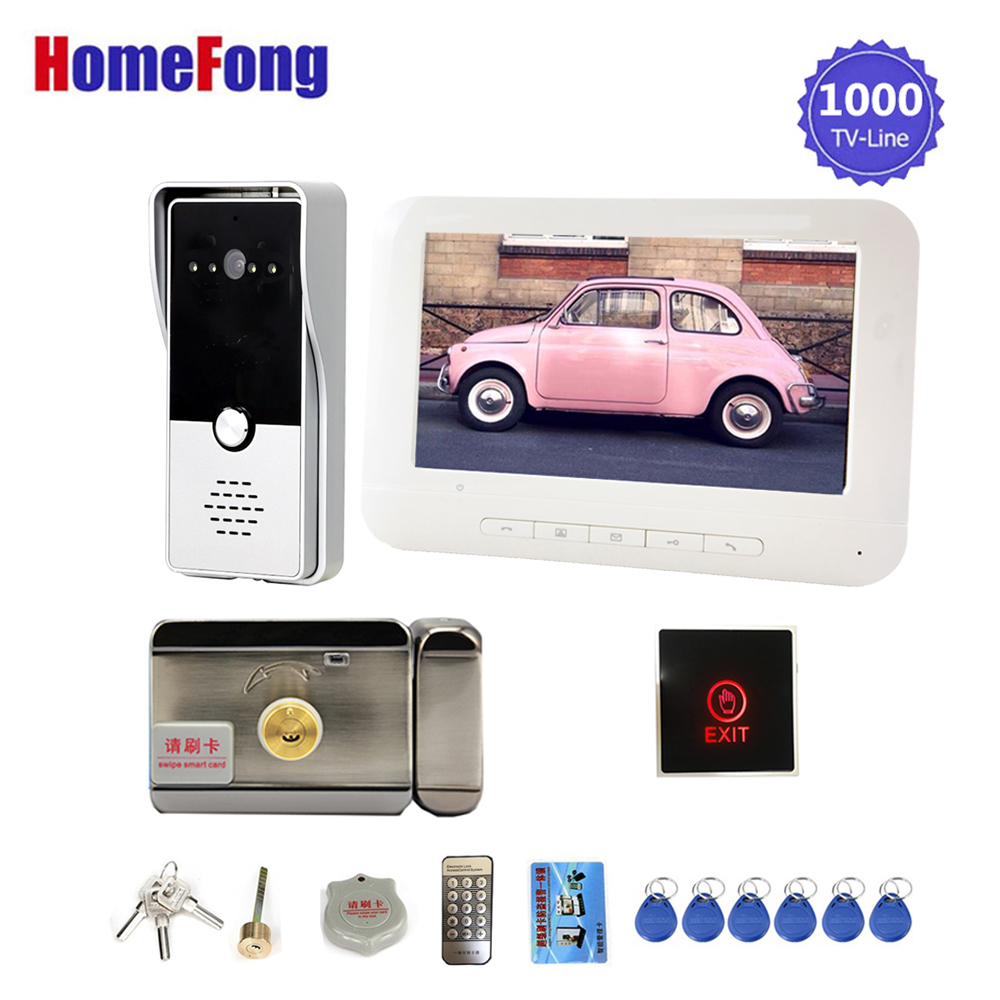 Homefong 7 Inch Video Intercom With Lock And Exit Button Video Door Phone Doorbell Camera White Unlock Talk Monitor