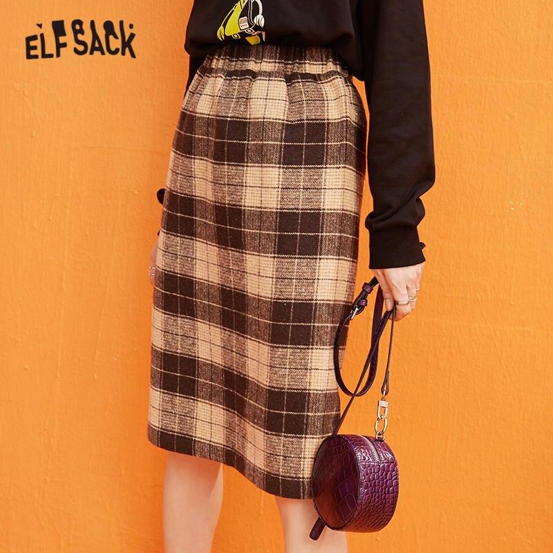 ELFSACK Plaid Mesh Contrast Women Long Skirts 2019 Winter New British Mid Waist Straight Office Ladies Daily SkirtSkirts   -
