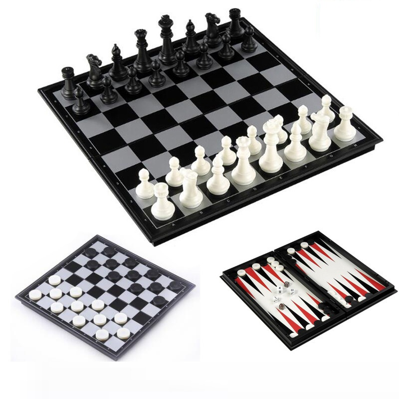 Chess And Checkers And Backgammon 3 In 1 Plastic Chess Set Travel Chess Game Magnetic Chess Pieces Folding Chess Board