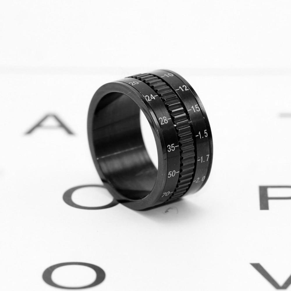 Venda quente rotatable câmera lente anéis 12mm titânio anéis de aço inoxidável para jóias masculinas na moda 2020