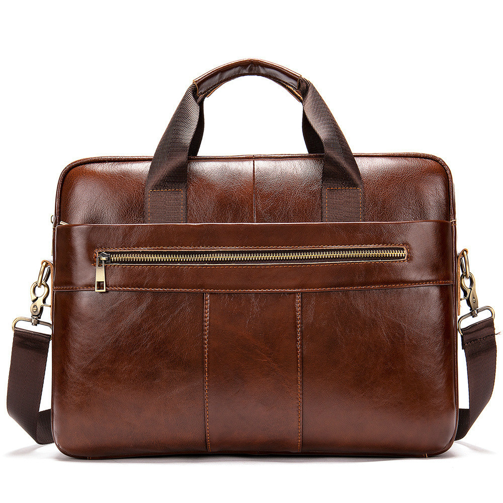 Zipper Briefcase Men Leather  Messenger Vintage Office Bags For Men Laptop Bag 14 Inch Maletines Hombre Men's Briefcase