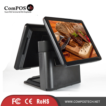 POS terminal commercial restaurant Pos System 15 inch Double screen pos all in one for lottery