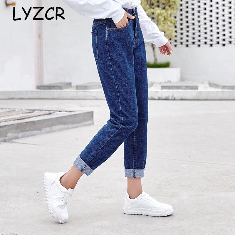 High Waist Boyfriend Jeans Pants For Women Winter Loose Harem Women's Jeans Denim Pencil Pants Women Blue Vintage Jeans Femme