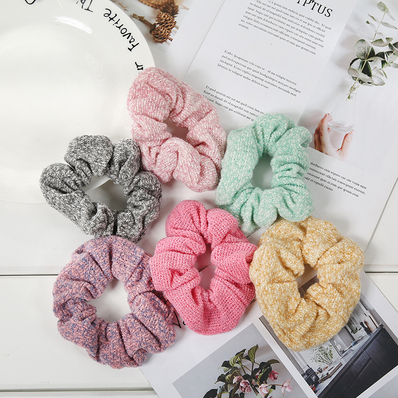 1PC moda słodka tkanina wełniana dziewczyny kucyk elastyczne gumki do włosów z eleganckiej tkaniny sztuki opaski do włosów damskie akcesoria do włosów nakrycia głowy