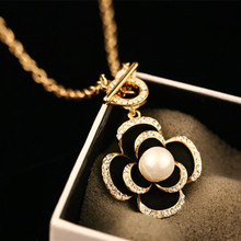 CX-Shirling  Long Necklaces Women Fashion Full Crystal Black&White&Pink Flower Flowers Sweater Chain Necklace