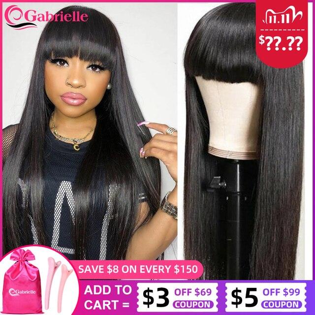 Gabrielle brazylijski proste włosy ludzkie peruki z grzywką krótki Bob fryzura pixie peruka z grzywką ludzkie włosy perruque cheveux humain