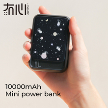 Maoxin mini powerbank 10000 mah 9 patterns one hand hold portable type c micro dual input one usb ou