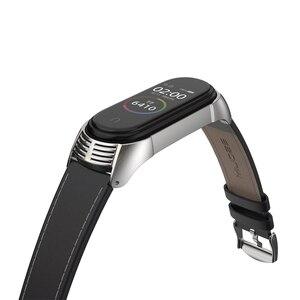 Image 5 - Correa de piel para Xiaomi Mi Band 5, correa de piel auténtica para pulsera inteligente Mi Band 3 y Mi Band 5