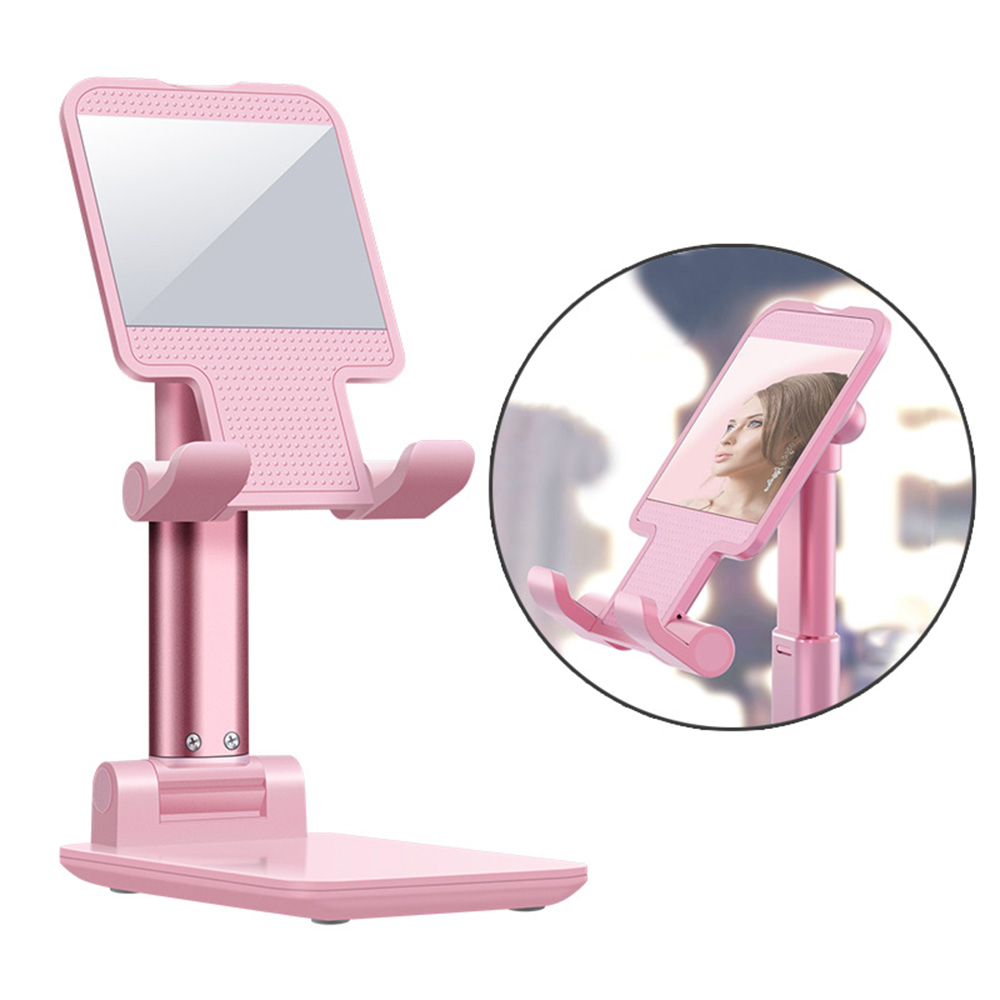 Desktop Mobile Phone Holder Cellphone Stand Foldable For 4-8 Inches Pink With Mirror