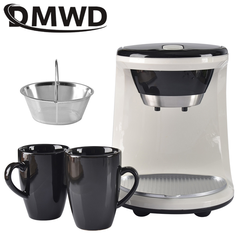 DMWD Mini Electric Drip Coffee Maker Household Semi-automatic Brewing Tea Pot American Coffee Machine Espresso 2 Cup EU US Plug