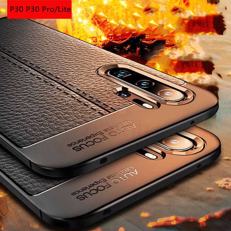 Shockproof Case for Huawei P30 Pro Case Leather Texture TPU Soft Protective bumper Rubber Matte Cover On For Huawei P30 Lite P30