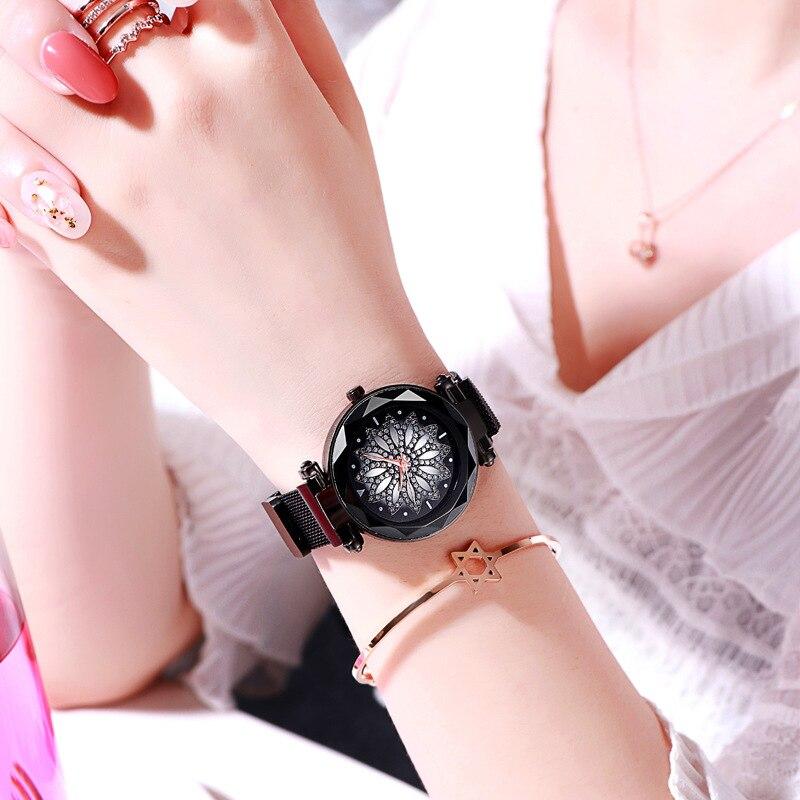New Fashion Brand Rose Gold Women Mesh Magnet Buckle Flower Watch Women Creative Quartz Watches Relogio Feminino Hot Sale 2019 in Women 39 s Watches from Watches