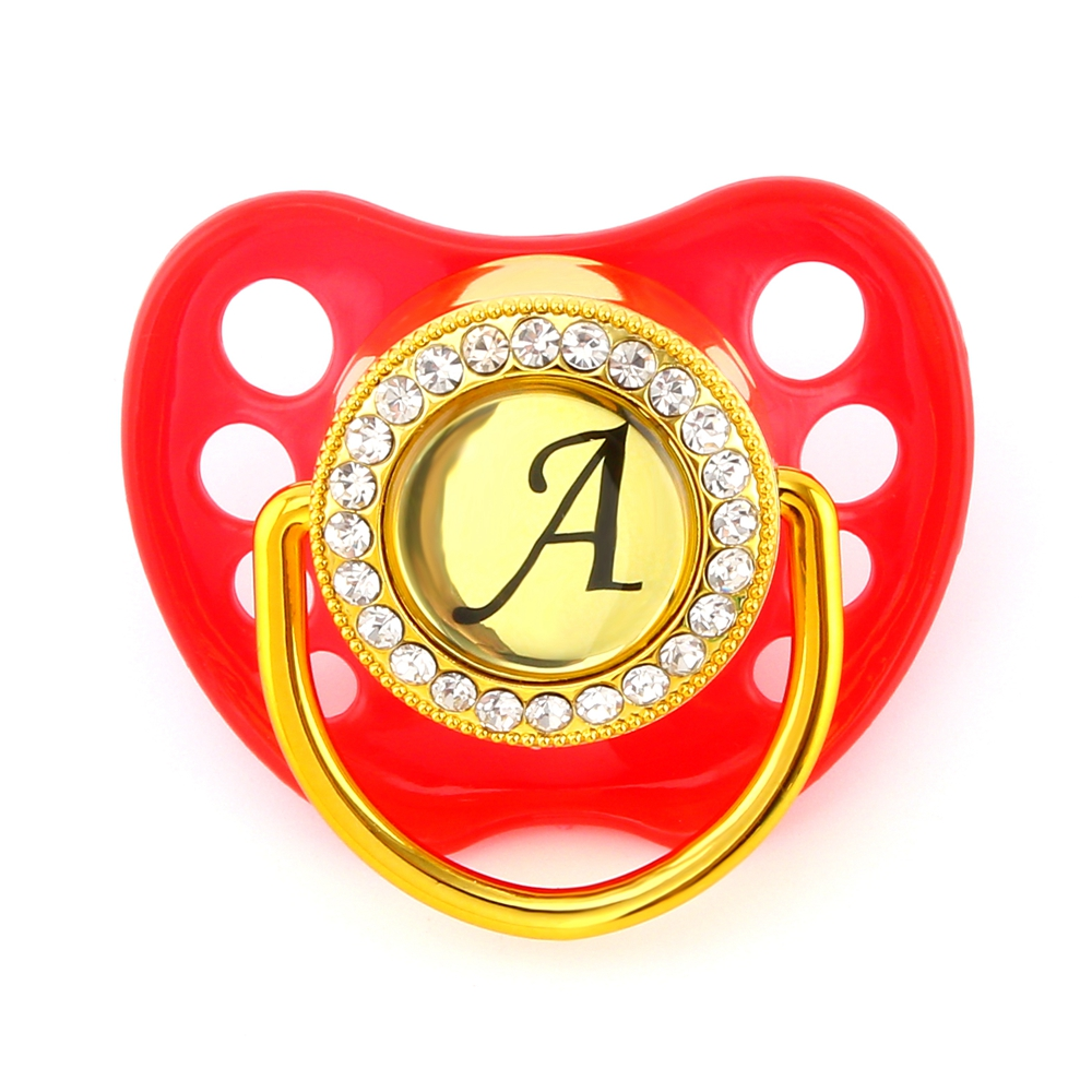 Customized Any Name Initials Letter Bling Pacifier Lollipop Red Luxury Baby Pacifier BPA Free Dummy Soother