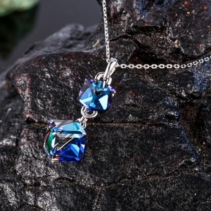 Image 3 - Embellished with Crystal from Swarovski Women Necklace Square Double Crystal Cube Pendant Necklace Fashion Jewelry Female Collar