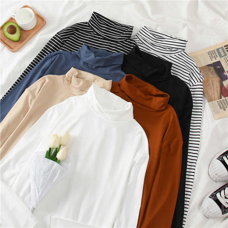 Nero a Collo Alto Manica Lunga Camisetas Mujer Bianco Della Banda di Base Sottile Delle Donne di Grandi Dimensioni T-Shirt di Moda di Strada Vestiti per Le Donne