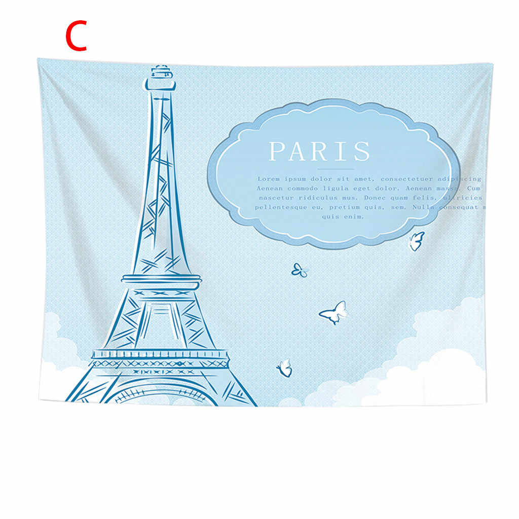 Paris City Decoration Collection Eiffel Tower Bridge Capital City Bedroom Living Room Dormitory Wall Hanging Tapestry