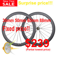 Ultra light 700C bicycle carbon wheels 24/30/35/38/45/50/55/60/75/88mm deep clincher tubular carbon wheels road bike wheels(China)