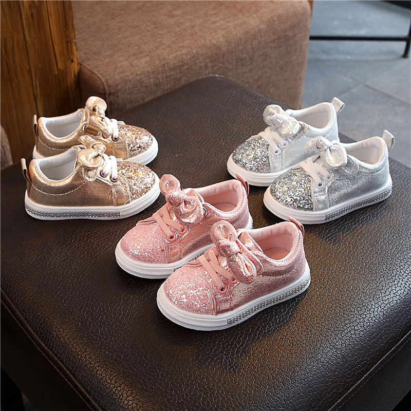1-6Years Old Baby Girl Bow Sequin Crib Casual Shoes Dress Shoes Baby Casual Shoes Girls Shoes