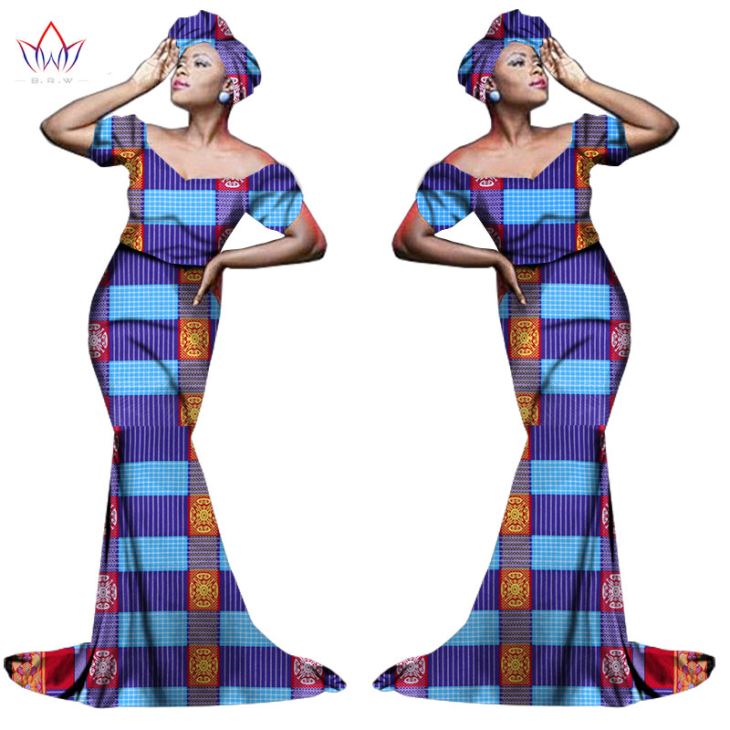 Африканский хлопчатобумажный материал Платья Для Женщин Дашики традиционная Анкара Мода Африка одежда с коротким рукавом Анкара платья WY963 - Цвет: 14