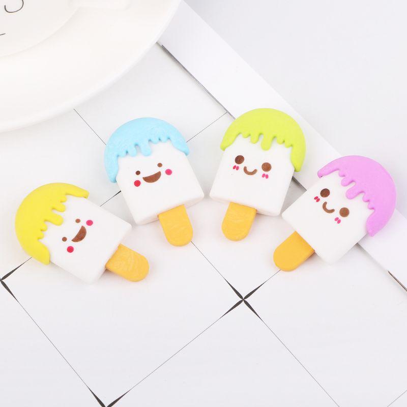 Cute 3D Cartoon Face Ice Cream Rubber Erasers Pencil Eraser For Kids School Supplies Stationery L41E