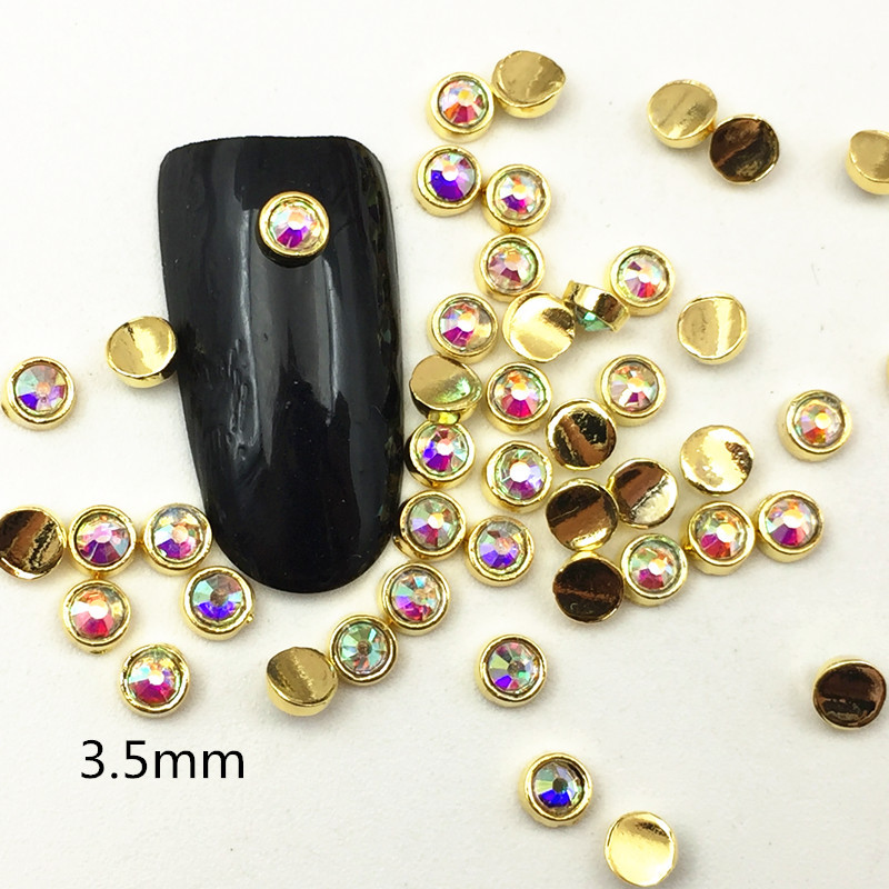 Japanese-style Diamond Set Symphony Nail Ornament Mini Metal Man-made Diamond Round Bag Drilling Arc Nail Sticker Gorgeous Round