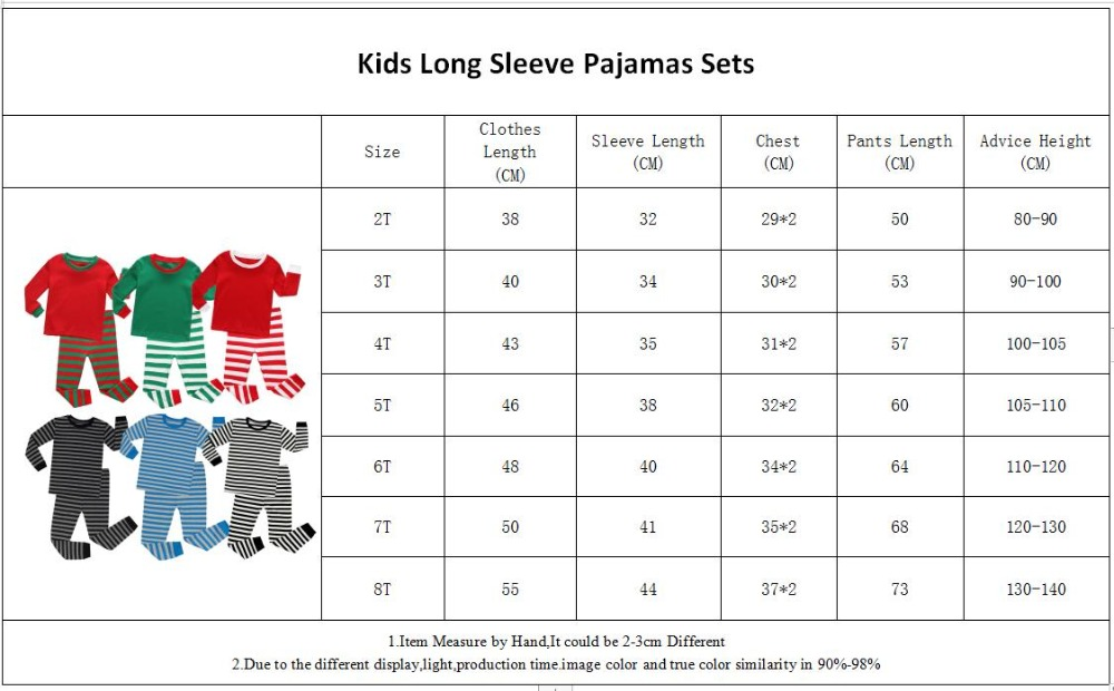 PB-Long Sleeve Pajamas Size 2-8Years