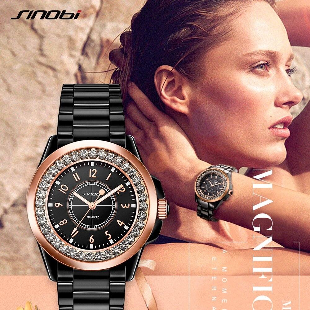 Sinobi moda feminina diamantes relógios de pulso imitação cerâmica pulseira topo marca luxo vestido senhoras genebra quartzo relógio 2019