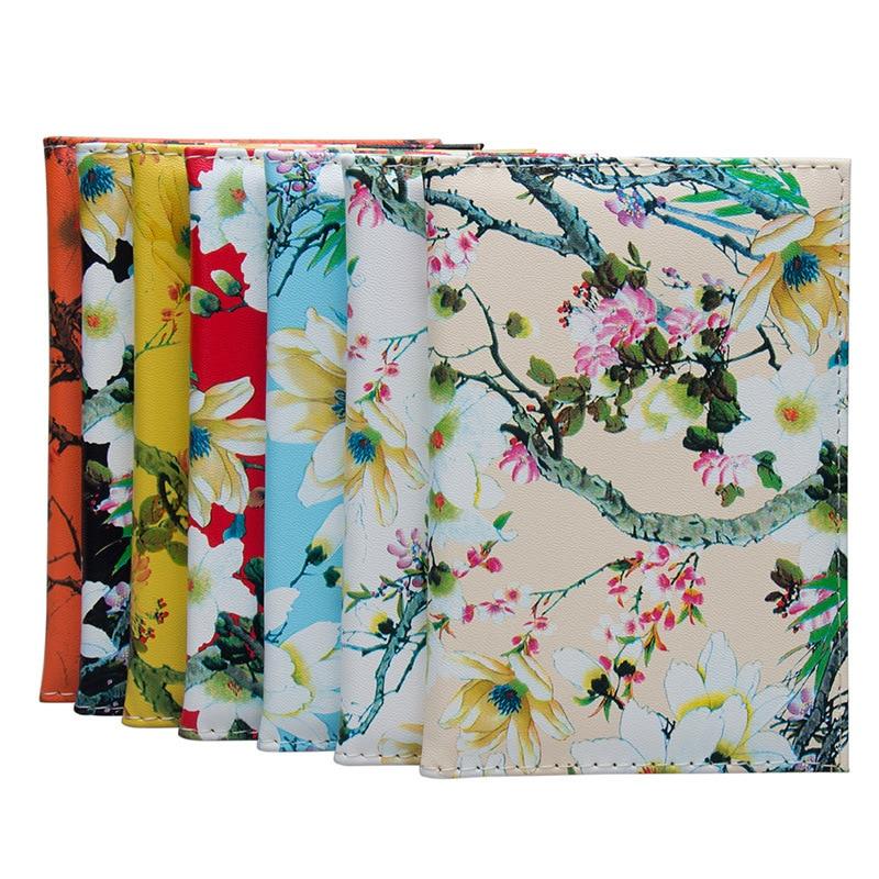 Zoukane Magnolia Plum Tree Branch Passport Cover Case Card Holder Travel Accessories Colorful Passport Wallet ZSPC26