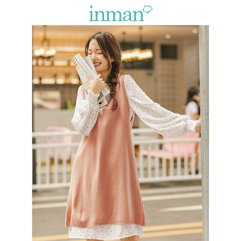 INMAN Spring Autumn Retro Wave Point Agaric Lace Stand Up Collar Dress With Solid V-neck Sweater Women Two Pieces Suit