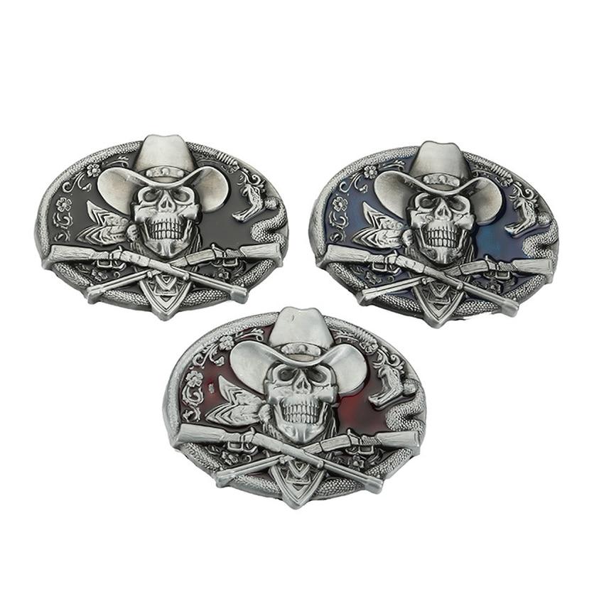 Men's Belt Buckle Vintage Skull Western Cowboy Jeans Fit 4cm Wide Belt Men Cowboy Western Dropshipping 2018