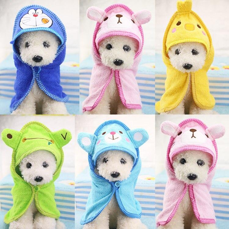 Soft Pet Dog Cat hat Animal Bathrobe Bath Towel Puppy Shower Wash Supplies Dog Pet cap Medium Small dog clothes S/M/L