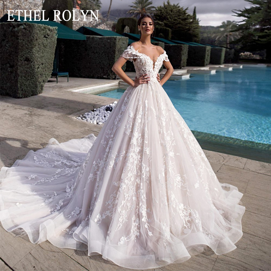 Luxury Beaded Princess Wedding Dress 2020 Off The Shoulder A-Line 3D Flowers Lace Up Bride Gowns Customized Vestido De Noiva