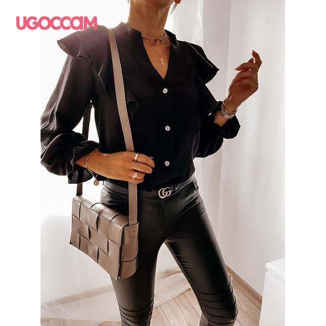 UGOCCAM Women Blouse Office Ladies Sexy Ruched Shirts Autumn Long Sleeve Elegant Casual Solid Shirts Tops Plus Size Tops Ropa Mu 2