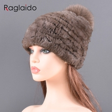 Czapka zimowa dla kobiet prawdziwe futra królika czapki elastyczne ciepłe miękkie puszyste oryginalne pompon z futra lisa Cap luksusowe jakości futra naturalnego