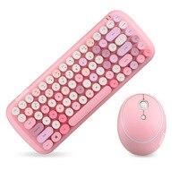 Set di Mouse per tastiera Wireless 2.4G tastiera e Mouse da gioco per ufficio USB Combo rosa per Notebook Laptop Desktop PC Smart Device
