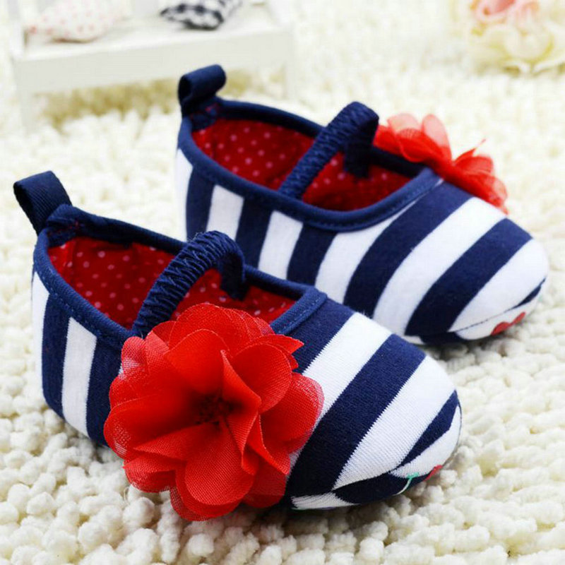 Newborn Baby Girls Cute Fashion Cute Toddler Stripe Flower Crib Shoes Soft Sole Kid Girls Baby Shoes Prewalker  First Walkers