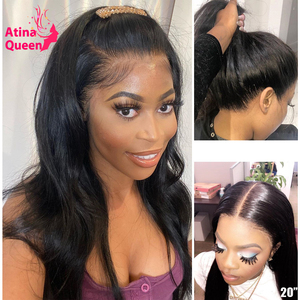 Fake Scalp 13x6 Lace Front Human Hair Wigs PrePlucked Invisible Transparent HD 360 Frontal Closure Wig Straight Remy Atina Queen(China)